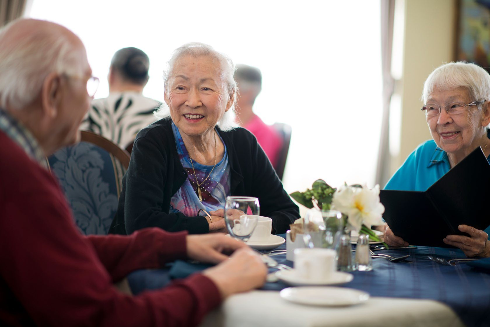Elderly women socializing at an assisted retirement community at Silver Birch