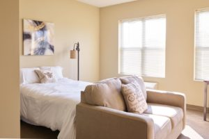 Studio bedroom and living room in Michigan City IN for active senior living