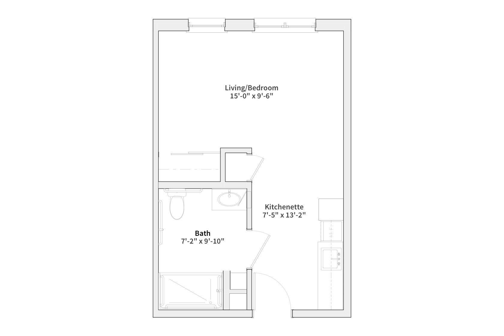 Silver Birch Evansville studio floor plan